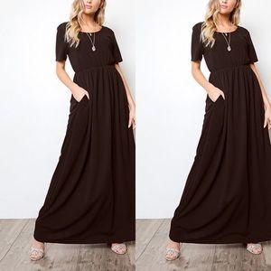 Black Side-Pocket Maxi Dress